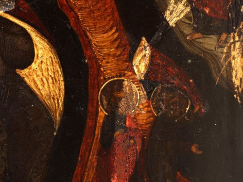 Старинная древнерусская икона «Огненное восхождение Ильи Пророка», Россия, Владимирские села, втор. пол. 19 в.