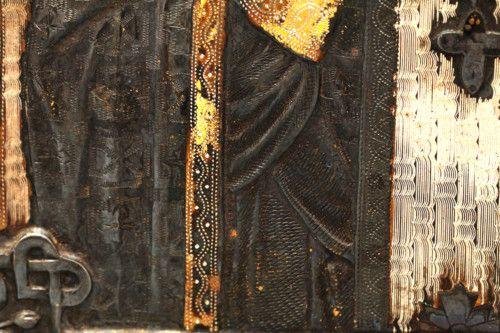 Старинная древнерусская икона «Святой Николай Чудотворец», Москва, 1877 г.