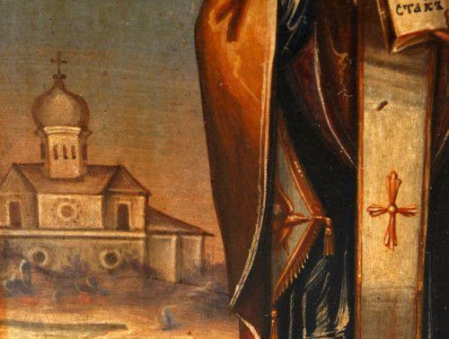 Антикварная старорусская икона «Никола Чудотворец Зарайский» (Святой Николай Чудотворец), Россия, Москва, н. 19 в.