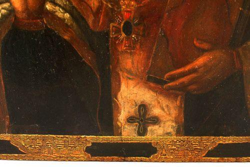 Старинная древнерусская икона «Святой Николай Чудотворец», надпись на иконе «Николай Мирликийский Чудотворец», Южная Россия, н. 19 в.