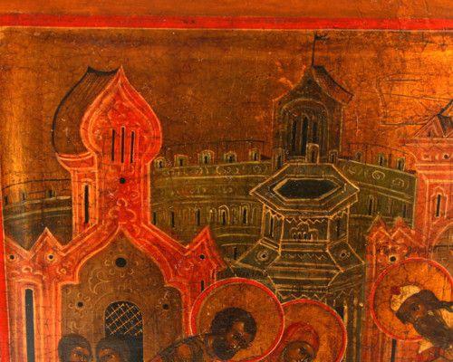 Старинная древнерусская икона «Введение во храм Пресвятой Богородицы», Россия, Москва, 19 в.