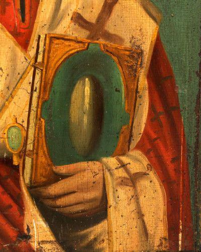 Старинная деревянная древнерусская икона «Святой Николай Чудотворец», Юго-запад России, н. 19 в.