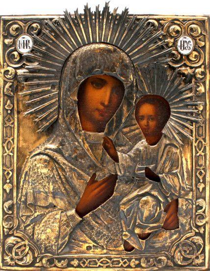 Старинная древнерусская серебряная икона «Божия Матерь Смоленская », Россия, Москва, 1863 год, оклад из серебра 84 пробы