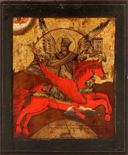 Старинная живописная икона «Архангел Михаил-грозный небесных сил воевода», Центральная Россия, 19 век