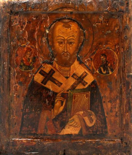 Старинная живописная икона «Святой Николай Чудотворец», Поволжье, начало 19 века