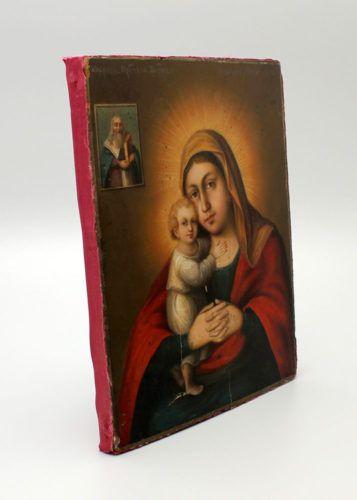 Антикварная живописная икона Божией Матери «Взыскание погибших», Центральная часть России, 1898 год