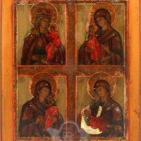 Антикварная древнерусская икона «Четыре образа Богородицы», Владимирские села, середина 19 века