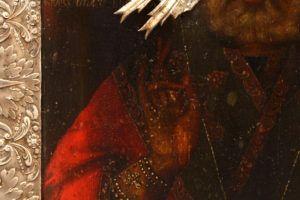 Древнерусская старинная икона «Святой Николай Чудотворец», Центральная Россия, к. 18 в., оклад 19 в.