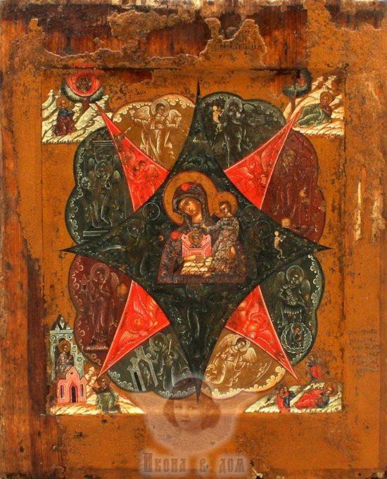 Древнерусская живописная икона Божией Матери «Неопалимая Купина», Поволжье, первая половина 19 века