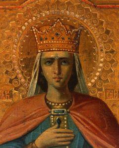 Именная антикварная икона «Святая мученица царица Александра», Центральная Россия, 19 век