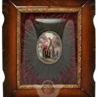 Старинная икона финифть «Воскресение Христово» (Явление Воскресшего Христа женам мироносицам), Ростов Великий, 1861 год