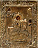 Антикварная древнерусская икона в окладе Святой Георгий Победоносец, Москва, к. 19 в.
