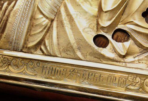 Антикварная икона в киоте «Божия Матерь Смоленская», серебряный оклад, Москва, кон. 19 в.