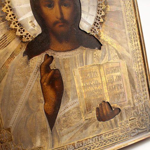 Старинная икона в серебряном окладе «Спас Вседержитель», 84 проба, Москва, 1896 г.