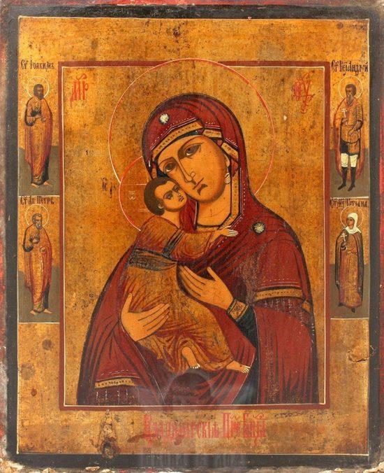 Старинная икона Богоматери «Владимирская», Россия, начало 20 века
