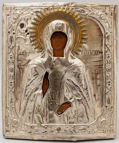 Старинная икона в латунном окладе «Святая Параскева Пятница», Россия, 2-я пол. 19 в.