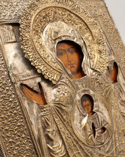 Икона Божией Матери в латунном окладе «Знамение», Россия, нач. 20 в.