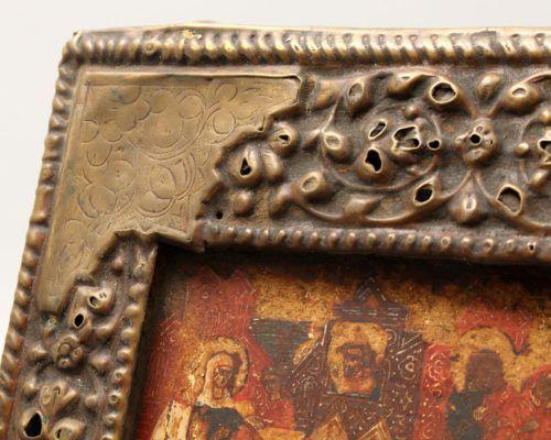 Старинная деревянная икона в латунном окладе «Двунадесятые праздники», Россия, Холуй, сер. 19 в.