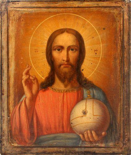 Старинная живописная икона на дереве «Господь Вседержитель», Россия