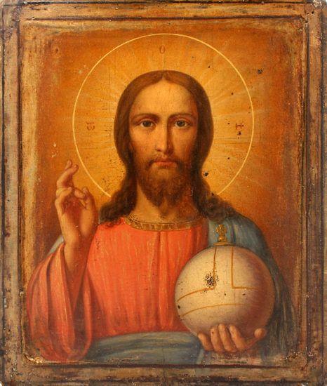 Старинная деревянная икона «Господь Вседержитель», Россия