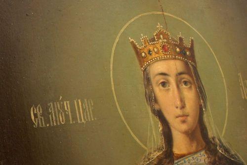 Старинная именная икона «Святая Царица Александра», Россия, Санкт-Петербург, 2-я пол. 19 в.