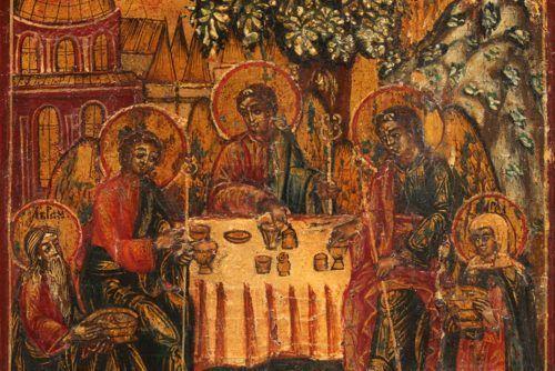 Старинная деревянная икона «Троица Ветхозаветная», Россия, Урал, 19 в.