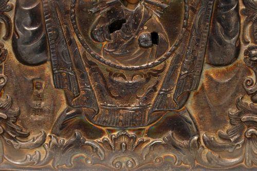 Старинная русская икона Божией Матери «Знамение», серебряный оклад, Россия, Астрахань, 1869 г.