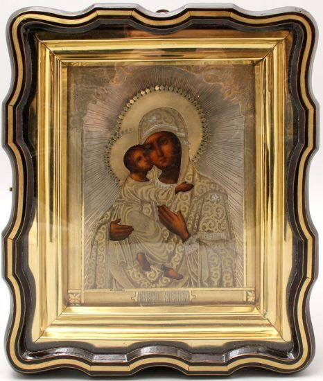 Антикварная икона в серебряном окладе и киоте «Божия Матерь Владимирская», Россия, Москва, 1868 г.