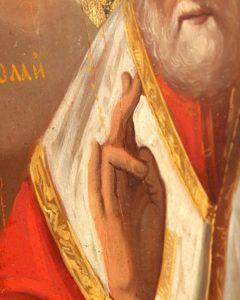 Древнерусская деревянная икона «Святой Николай Чудотворец», Юго-западные земли России, сер. 19 в.