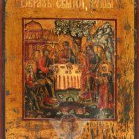 Старинная деревянная икона на золоте «Троица Ветхозаветная», Россия, Урал, 19 в.