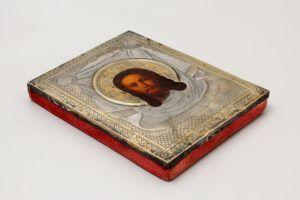 Старинная небольшая икона в серебряном окладе «Спас Нерукотворный», серебро 84 пр., Россия, Москва, 1881 г.