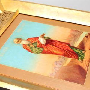 Старинная икона «Иоанн Богослов», Россия, Москва, П. С. Усов, 2 пол. 19 в.