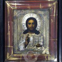 Древнерусская икона «Господь Вседержитель» в серебряном окладе и деревянном киоте